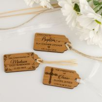 Personalised Engraved Wooden Baby Christening Gift Tags Favours