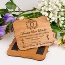 Personalised Engraved Wooden Christening, Baptism, Naming Day Magnetic Invitation