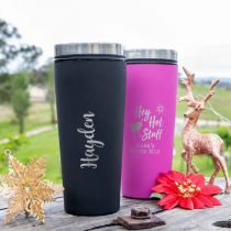 Personalised Engraved Christmas Pink and Black Travel Coffee Mugs Present