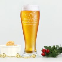 Personalised Engraved Christmas Schooner Beer Glass Present