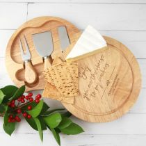 Personalised Engraved Wooden Round Cheese Board with Matching Cheese Knife Set Christmas Present