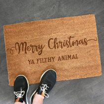 "Custom Designed Engraved ""Merry Christmas ya Filthy Animal"" Door Welcome Mat Present"