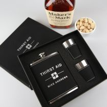 Personalised Engraved Black Leatherette Hip flask and shot glasses set Christmas Gift