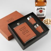 Personalised Engraved Tan Leatherette Hip flask, shot glasses and gift Box Christmas Gift