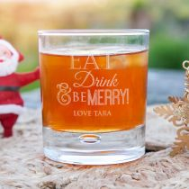 "Personalised Engraved ""eat, drink and be merry"" Christmas scotch whiskey round glass secret Santa present"