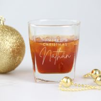 Personalised Engraved Merry Christmas Scotch Whiskey Glass Present