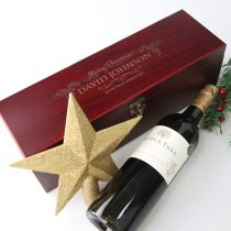 Personalised Engraved Cherry Stain Corporate Christmas Wine or Champagne Box Client Gift