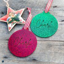 Personalised Laser Cut Glitter Acrylic Christmas Tree Bauble Decoration