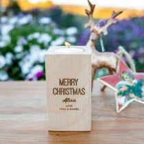 Personalised Engraved Wooden Christmas Tealight Holder