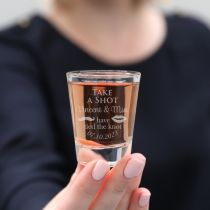 "Custom Designed Engraved Wedding ""Take a shot ... have tied the knot"" premium shot glass bomboniere"