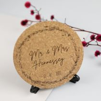 Custom Designed Engraved Wedding Cork Coaster Favour on Black Presentation Stand
