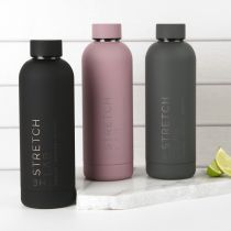 Personalised Engraved Company Logo Black, Mauve and Charcoal Insulated Stainless Steel Sport Drink Water Bottle Corporate or Client Promotional Gift