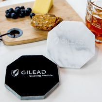 Personalised Engraved Octagonal Marble Coaster Corporate Gift