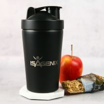 Engraved 600ml Stainless Steel Black Protein Shaker Corporate Gift