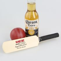 Personalised Colour Printed Birthday Mini Wooden Cricket Bat Present