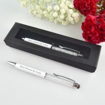 Customised Engraved White Crystal Christmas Pen Gift
