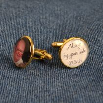 Personalised Gold Wedding Photo Cufflinks- of love ones past