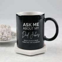 """Personalised Engraved Father's Day """"Ask Me About My Dad Jokes"""" Black Coffee Mug Present"""