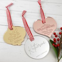 Customised Engraved Gold Bell, Silver Circle, Rose Gold Heart Christmas Tree Acrylic Christmas Decorations Gift