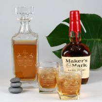 Personalised Engraved Christmas Decanter and Scotch Glasses Gift Set