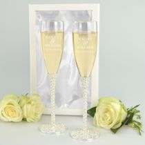 Personalised Engraved Bride & Groom's names Engagement Diamante stem Champagne Glasses