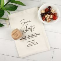 Personalised Engraved Wooden Dice Dinner Deciding Game and Printed Calico Bag Birthday Present