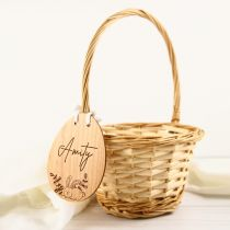 Personalised Engraved Easter Egg shape wooden gift tag and basket