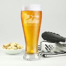 "Personalised Engraved the ""Grillfather"" Father's Day 425ml Beer Glass Present"