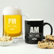 Personalised Engraved Father's Day AM Coffee Mug and PM Beer Mug Set present