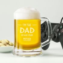 """Personalised Engraved """"Go Ask Your Mother"""" Father's Day 500ml Beer Stein Mug Present"""