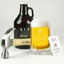 Personalised Engraved Handy Dad Hamper Includes Wooden Hammer, Glass Beer Stein Mug and Credit Card Bottle Opener