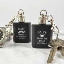 Personalised Engraved Father's Day Black Mini Hip Flask Keyring Presents