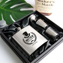 Engraved personalised silver bridal party 6oz hip flask with funnel and shot glasses presented in a silk lined box