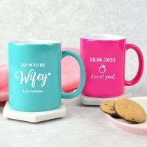 Personalised Engraved wedding engagement aqua and pink coffee mugs gift