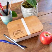 Personalised Engraved Bamboo Lid Lunchbox Teacher's Gift