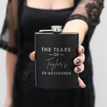 personalised name matte black hip flask inappropriate gift