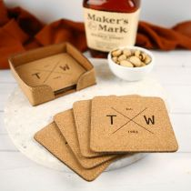 Personalised Engraved Cork Square Coasters Set of 6