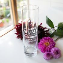 "Engraved Personalised ""Arms that Always Hug & Hold"" Mother Day Glass Vase Present"