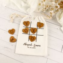 Personalised Printed Noughts & Crosses Calico Bag Wedding Game Gift