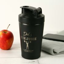 Personalised Engraved Father's Day 600ml Stainless Steel Black Protein Shaker Present