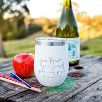 Personalised Engraved Coffee Keep Cup Wine Sipper Silver Rim Teacher's Gift