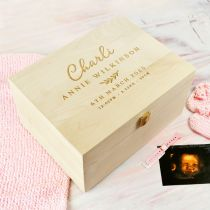 Personalised Engraved Wooden Baby Birth Christening Memory Box