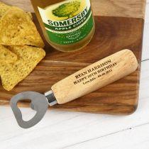 Personalised Engraved 30th Birthday Wooden Handle Bottle Opener