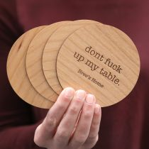 wooden table customised coasters inappropriate house warming gift