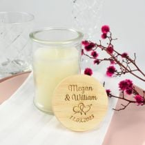 Jasmine scented candle with engraved wooden lid wedding favour