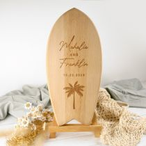 Personalised Engraved Wooden Surfboard Wedding Sign Gift