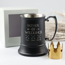 """Personalised Engraved Father's Day """"Father of Wildlings"""" black Matte Beer Stein Mug Present with gift box"""