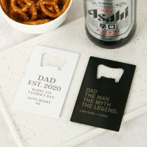 Personalised Engraved White and Black Father's Day Metal Credit Card Bottle Opener Present