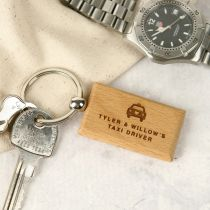 Personalised Engraved Father's Day Rectangle Wooden Keyring Present