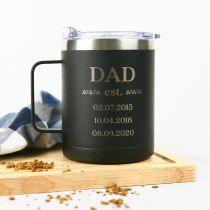 Personalised Engraved Matte Black 400ml Stainless Steel Travel Mug Father's Day Present